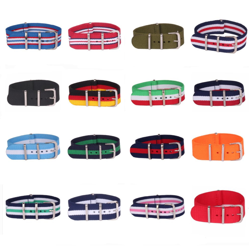 Buy 2 Get 10% OFF)  16mm Stripe Nato Woven Fiber Watchband 16 Mm Nylon Watch Straps Wristwatch Band Buckle Cheap Fabric