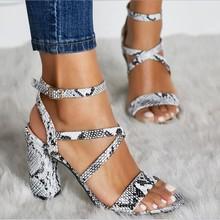 Summer Women Ankle Strap Sandals Snake PU Buckle Strap Square heel 10CM High Heels Sandals Women Shoes Sexy Pumps недорого
