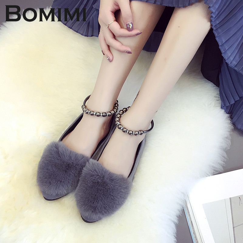 725f359954d US $12.23 49% OFF|BOMIMI Women Flat Shoe Fur flats belt buckle design shoes  autumn moccasins feather fur loafers slip on shoes rabbit hairs shoes-in ...