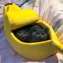 Банан кошка кровать Дом Уютный милый банан щенок Подушка теплая подстика для животных портативная корзина для животных принадлежности коврик кровати для кошек и котят