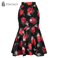 Vintacy Vintage Women Mermaid Skirt Black Red Print High Waist Bodycon Trumpet Midi Skirts Spring Autumn