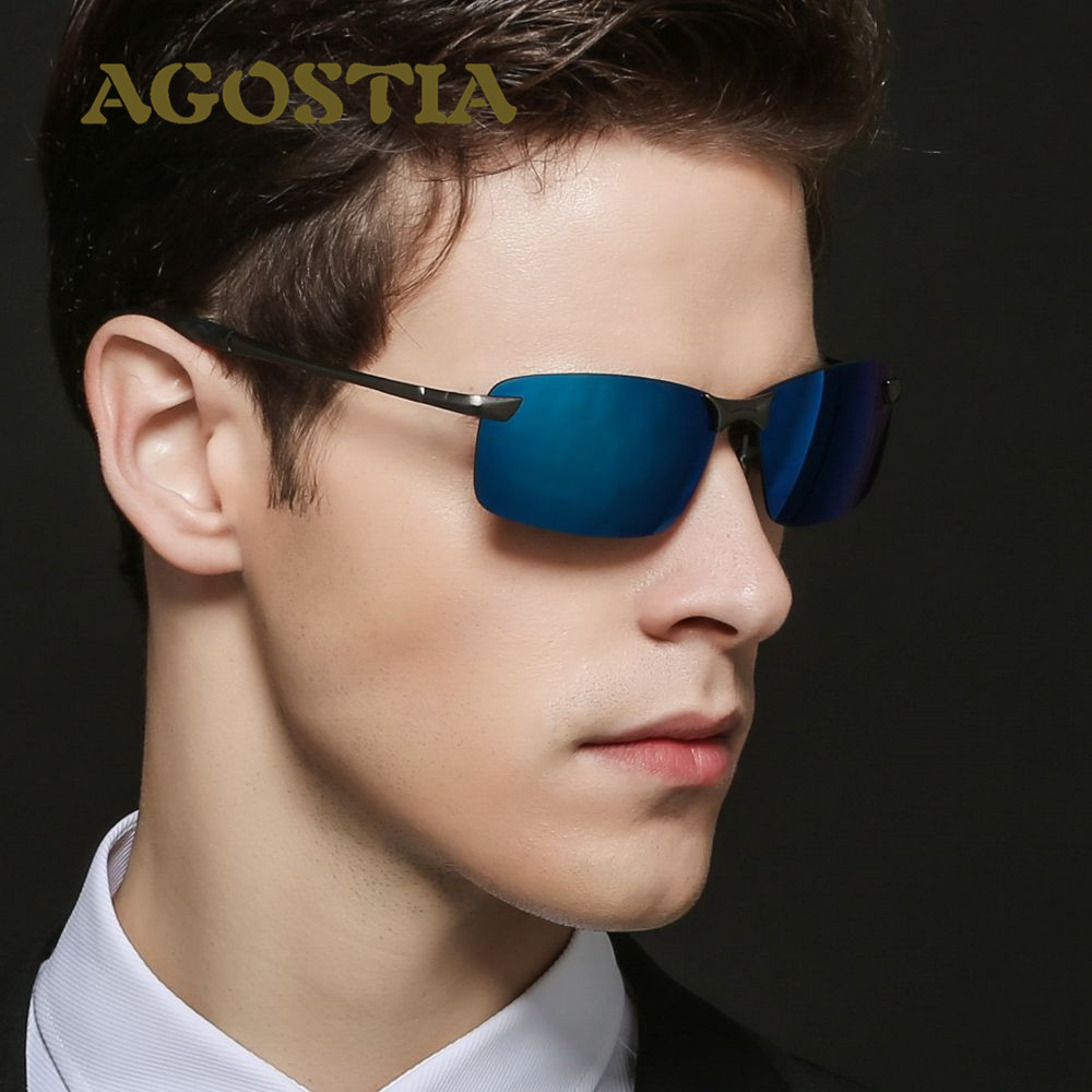brand polarized men s sunglasses rimless rectangle spor