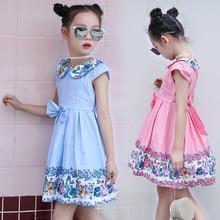 Children's Wear Girls Summer New Cotton Cartoon Doll Collar Print Short Sleeve Bow Dress allover cartoon print bow tied dress