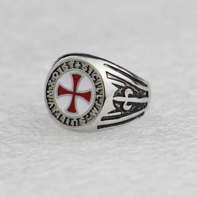 DCARZZ Wedding Rings Stainless Steel Cosplay Gamer Silver Rings Fashion Jewelry Templar Cross Enamel Ring for Women/Men Gift