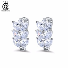 ORSA JEWELS 2017 Silver Color Earrings Leaf Style Marquise Cut AAA Austrian Clear Zircon Women Fashion Earring Stud OME03