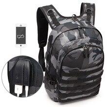 Купить с кэшбэком PUBG Backpack Men School Bags Mochila Pubg Battlefield Infantry Pack Camouflage Travel Canvas USB Headphone Jack Back Knapsack