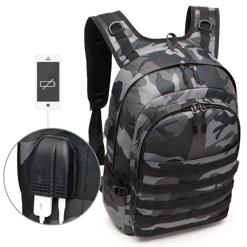 PUBG Rucksack Männer Schule Taschen Mochila Pubg Battlefield Infanterie Pack Camouflage Reise Leinwand USB Kopfhörer Jack Zurück Knapsack