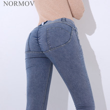 NORMOV Fashion Women Sexy Jeans Low Waist Elastic Hip Push Up Jeans Co