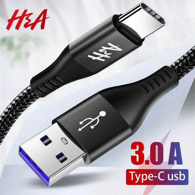 H & A 3A Typ C Schnelle Ladegerät Kabel für Huawei P20 lite USB Typ-C Schnelle Lade Daten kabel für Huawei Mate 10 20 pro Ladegerät Kabel