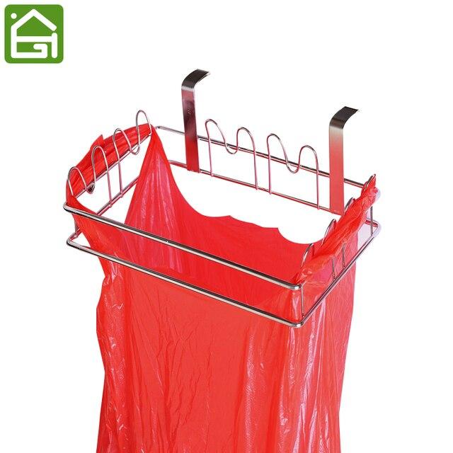 stainless steel kitchen hanger cabinet door trash bag organizer holders cupboard garbage bags hanging stand rack