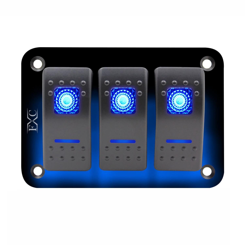 (tropfen Verschiffen) 12v-24v-3-gang-dual-led-light-rocker-switch-panel-bar-car-caravan-boat-rv-blue Starker Widerstand Gegen Hitze Und Starkes Tragen
