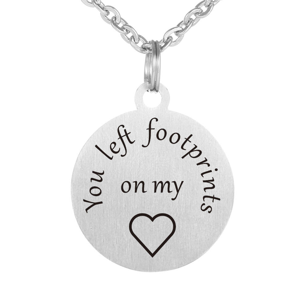 You left footprints on my heart Honeymoon Necklace Christmas Anniversary Lover Gift Stainless Steel Necklaces Jewelry