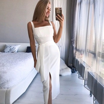 DeRuiLaDy 2019 Women Straps Summer Dress Sexy Sleeveless Bodycon Club Midi Dress Female Black White Party Casual Dresses Vestido