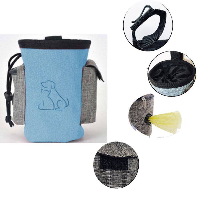 Pet Portable Dog Treat Pouch Dog Training Waist Bag Obedience Agility Training Treat Bag Detachable Pocket For Dog Snack Reward