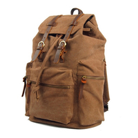 Canvas Leather Europe America Retro Sport School Book Computer College Laptop Bag Backpack Travel Outdoor