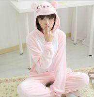 Nieuwe Volwassenen Flanel Pyjama Homewear Vrouwen Pijama Dier Past Cosplay Leuke Grappige Animal Pyjama roze varken pijama feminino