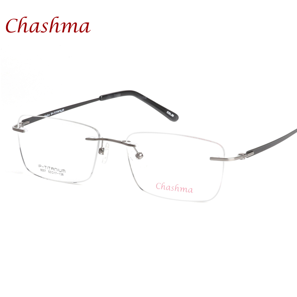 Brýle značky Chashma nejvyšší kvality armacao para oculos de grau Bezrámové světelné brýle Rimless Frame Pure Titanium Eyeglasses Men