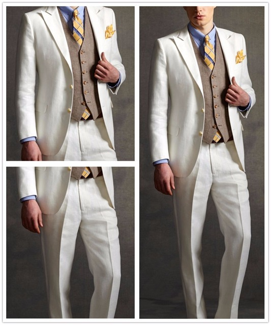 5e9df294f7 2017 Tailor Made White Linen Groom Tuxedos Style Mens Wedding Prom Dinner  Suits 3 Piece Man Suit (Jacket+Pants+Vest) terno