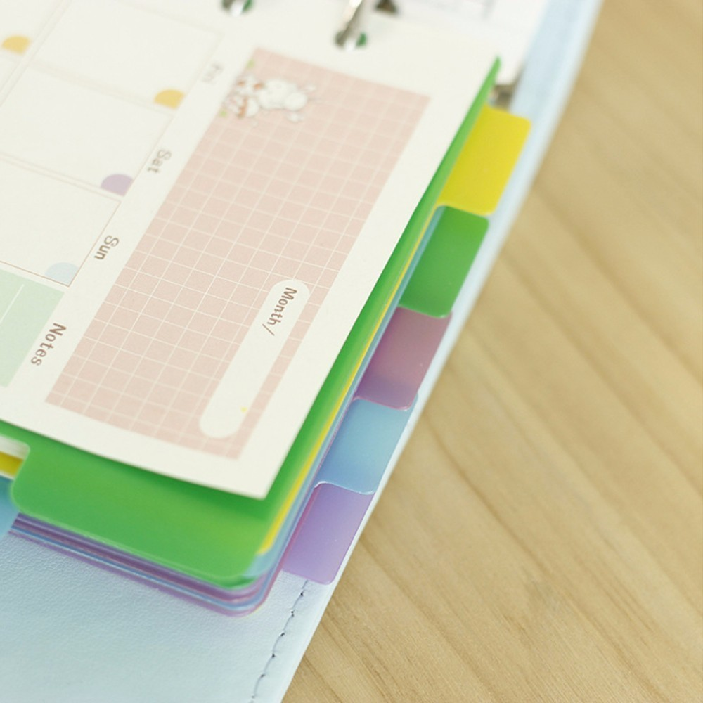 5 PCS/LOT Colorful Transparent PP Separator For Rings Notebook 6-hole Index Page A5 A6 Loose Leaf Diary Categories Clapboard Islamabad
