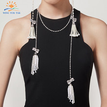 wing yuk tak Fashion Luxury Crystal Bow knot Long Tassel Chains Necklaces Classic Pearl Necklace For Women Party Wedding Jewelry