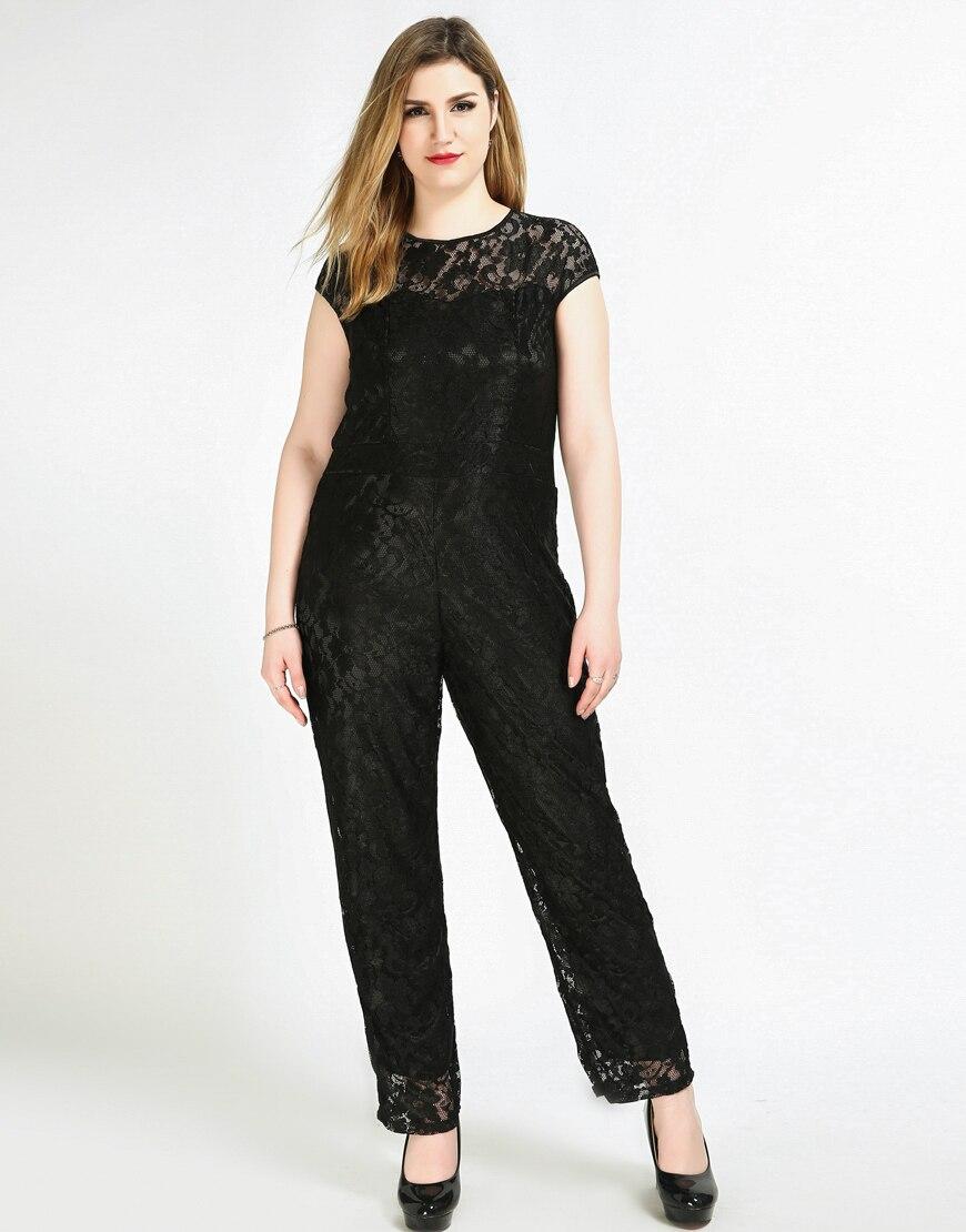 Для женщин пикантные короткий рукав плюс Размеры Кружево Комбинезоны для женщин полной длины Повседневное Комбинезоны для малышек, черные ...