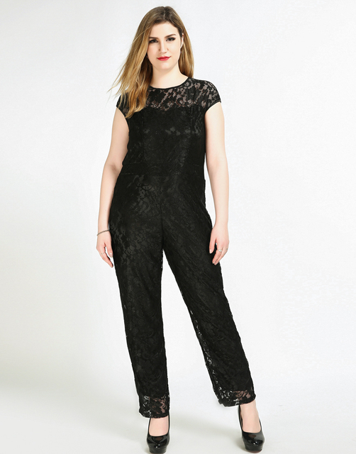 Womens Sexy Short Sleeve Plus Size Lace Jumpsuits Full Length