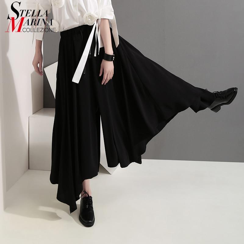 2019 Korean Style Women Solid Black Long   Wide     Legs     Pants   Elastic Waist Ankle Length Female Casual Wear Loose   Pants   Trousers 5142