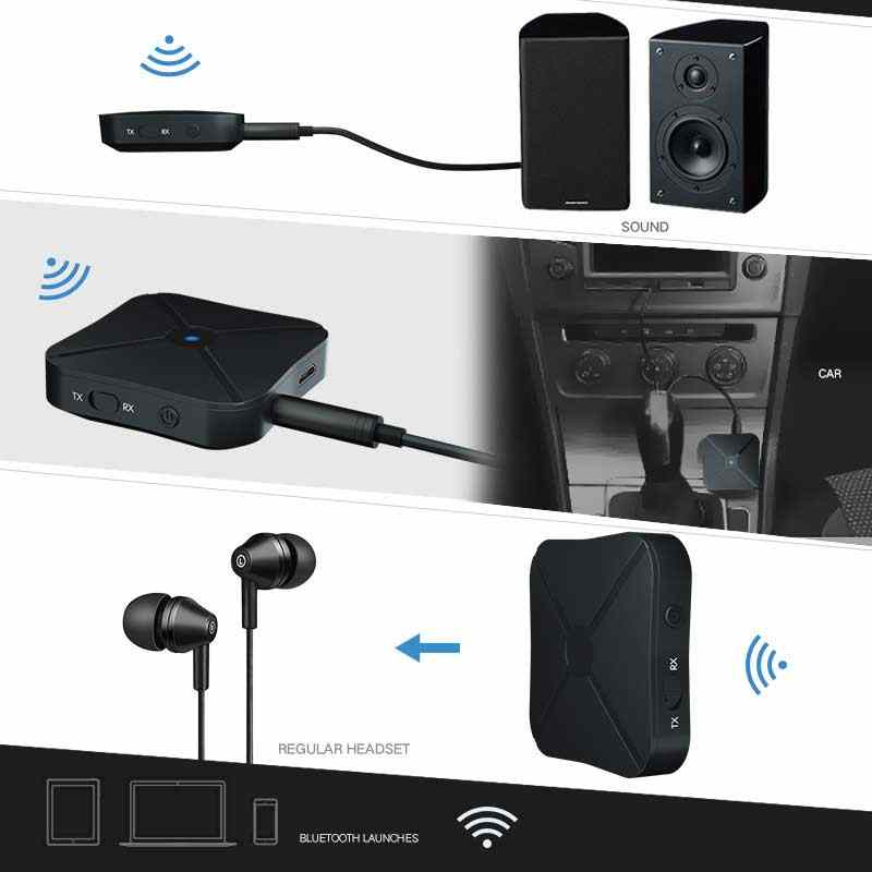 Rovtop 2 in 1 Wireless Bluetooth 4.2 Audio Receiver Transmitter Car Music MP3 Adapter With 3.5mm AUX Audio For TV Speaker