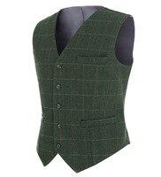 2018 Fashion New Plaid Suit Vest For Men Wool Tweed Casual Slim Fit Waistcoat Formal Business Vest For Groomsmen Wedding,