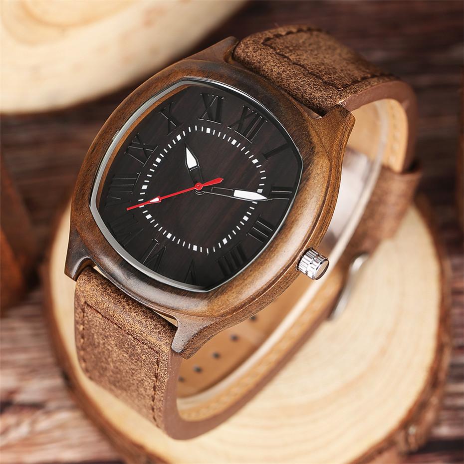 YISUYA Bamboo Wooden Watch Men Quartz Leather Band Analog Creative Watches Roman Numerals Dial Unqiue Shape Fashion Clock Gift (19)