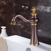 European Hot and Cold Basin Faucet ORB Faucet Single Hole Rose Gold Basin Brass Antique Water Tap