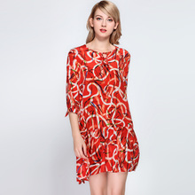 Summer Silk Dress High Quality Women Korean version Fashion Printed O neck Lace-up 3/4 sleeve Loose Casual dress