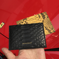 Hiram Beron Unisex Leather Card Holder RFID Blocking Python Credit Card Wallet Men Custom female wallet dropship