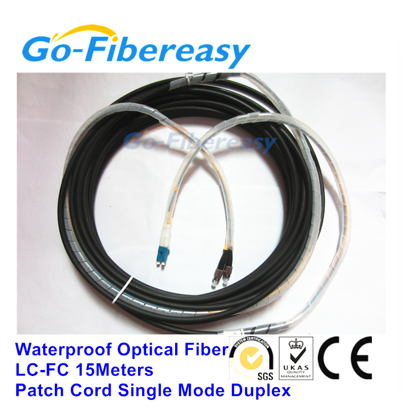 Waterproof Fiber Patch cord Outdoor Singlemode Duplex Optic Cable With LC to FC Connector 15Mters
