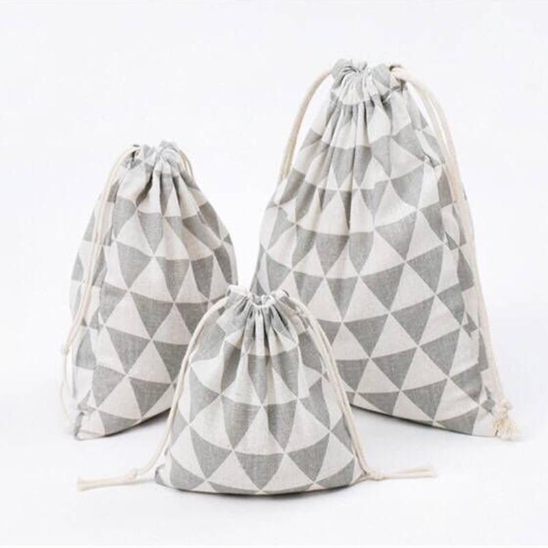 YILE Gray Geometry Cotton Linen Drawstring Multi-purpose Pouch Organized Bag 8614d