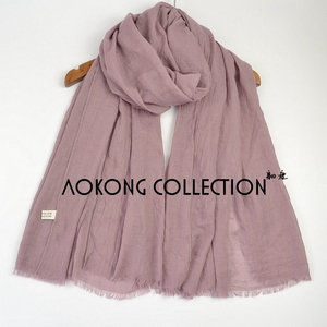 Image 5 - 10pcs/lot New Women Solid Maxi Hijab Scarfs Oversize Islam Shawls Head Wraps Long Muslim Frayed Real Cotton Blends Plain Hijabs