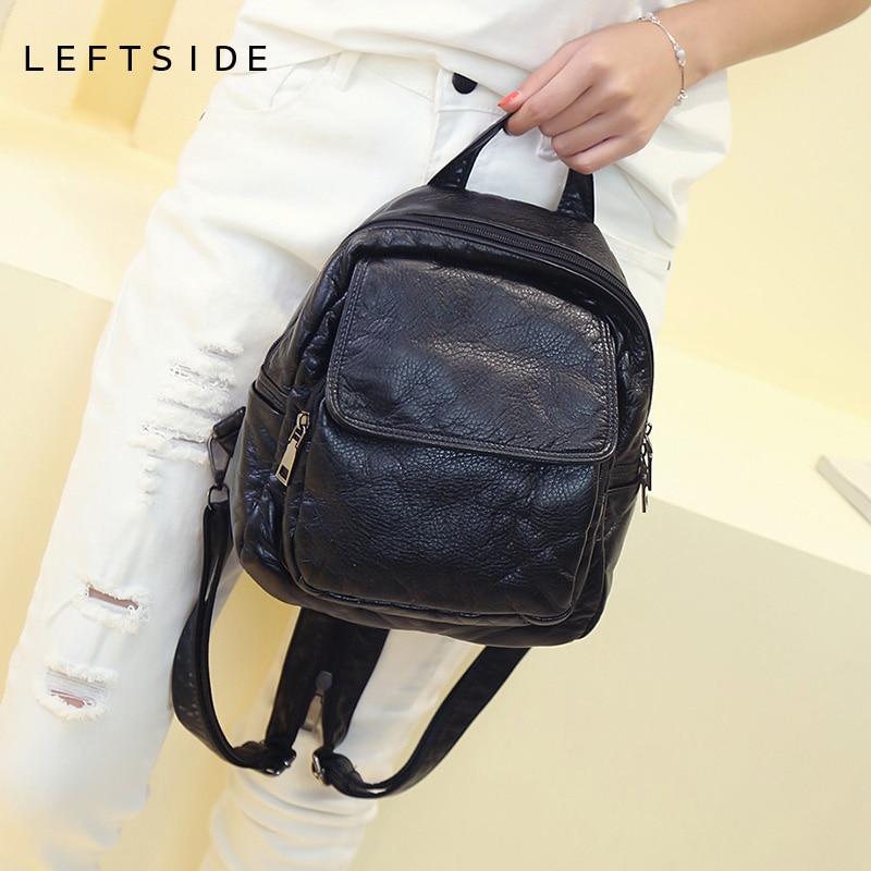 LEFTSIDE 2017 Small Women s Soft Washed Leather Backpack Black children backpacks Teen back pack backpacks