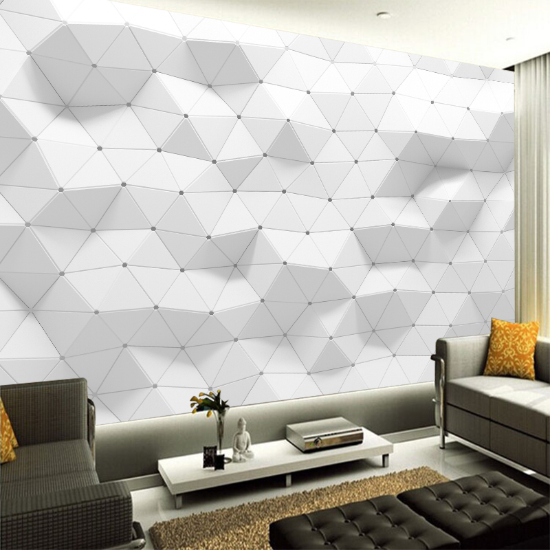 White Geometric Luxury Nonwoven Wallpaper Modern Art Poster For Bedroom Living Room Large Wall Decor Home Decoration YBZ047