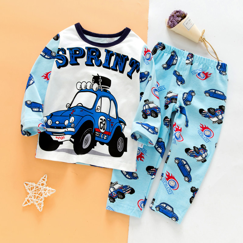 SAILEROAD Children's Full Sleeve Pajamas For Boys Kids Cartoon Car Pajamas Set Child Pijama Baby Pyjamas Cotton Girls Sleepwear