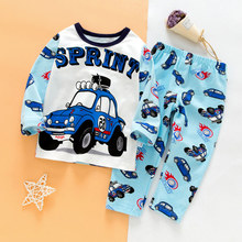 SAILEROAD Children's Full Sleeve Pajamas For Boys Kids Cartoon Car paja
