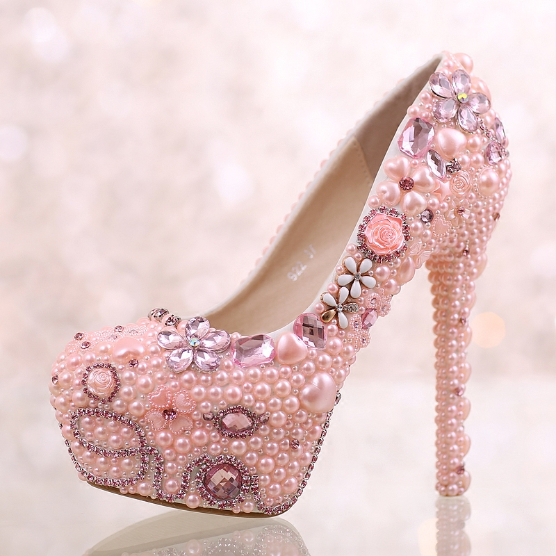 ФОТО Super high heels 14CM 12CM heeled round toes pumps shoes for woman TG799 pink crystal pearls ladies girl pink party shoes