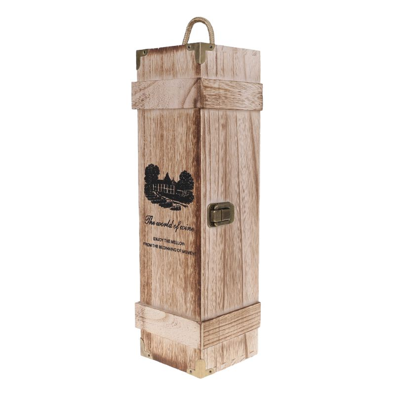 Retro Empty Single Bottle Red Wine Box Paulownia Wood Storage Case Container Carrier Grape Whiskey Packing Box  Retro Empty Single Bottle Red Wine Box Paulownia Wood Storage Case Container Carrier Grape Whiskey Packing Box