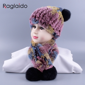 Image 3 - 4 10y Girl boys Knitted Real Rabbit Fur Hats Scarves Set Winter Genuine Natural Fur Cap with balls pompom beanies  scarf LQ11260