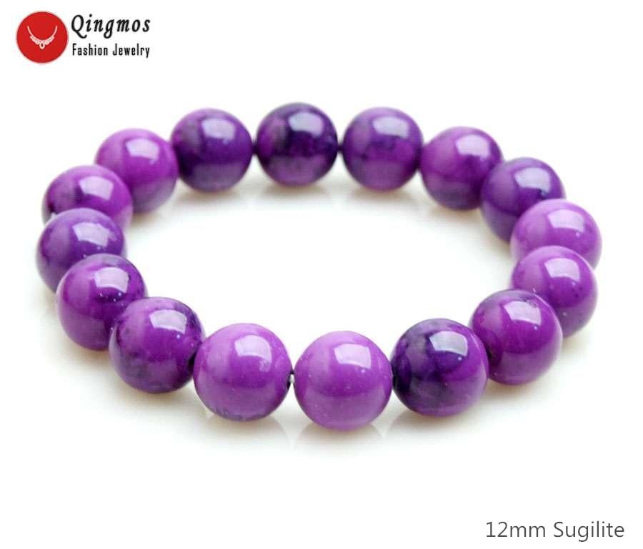 Qingmos Mode Sugilite Armband für Frauen mit 12mm Runde Lila Sugilite Stein Armband Edlen Schmuck 7,5 ''Armband bra472