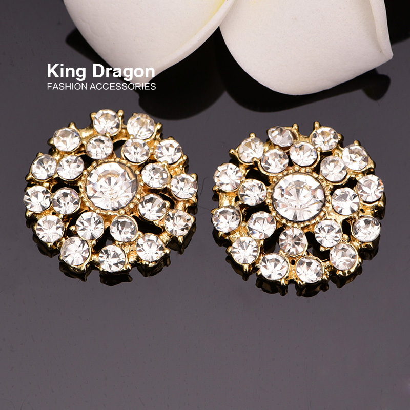 FlatBack Rhinestone Button Used On Invitation Card 22MM 100pcs/lot Gold Color