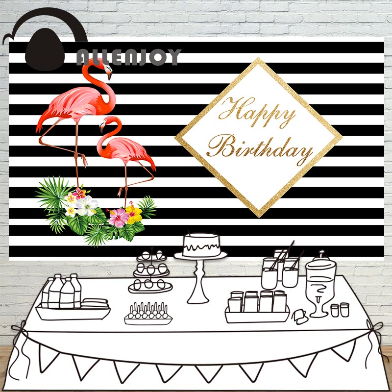 Allenjoy photography Flamingo birthday backdrop flowers black and white stripes background photocall photobooth custom photography background baby shower step and repeat allenjoy backdrop custom made any size any style