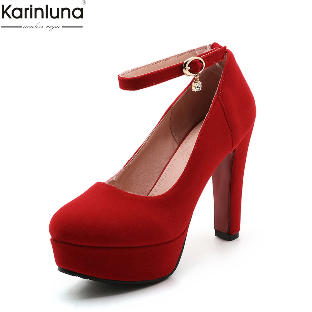 Karinluna new arrivals dropship plus size 32 43 Bride Bridesmaid women shoes pumps high heels gold silver red pumps shoes woman