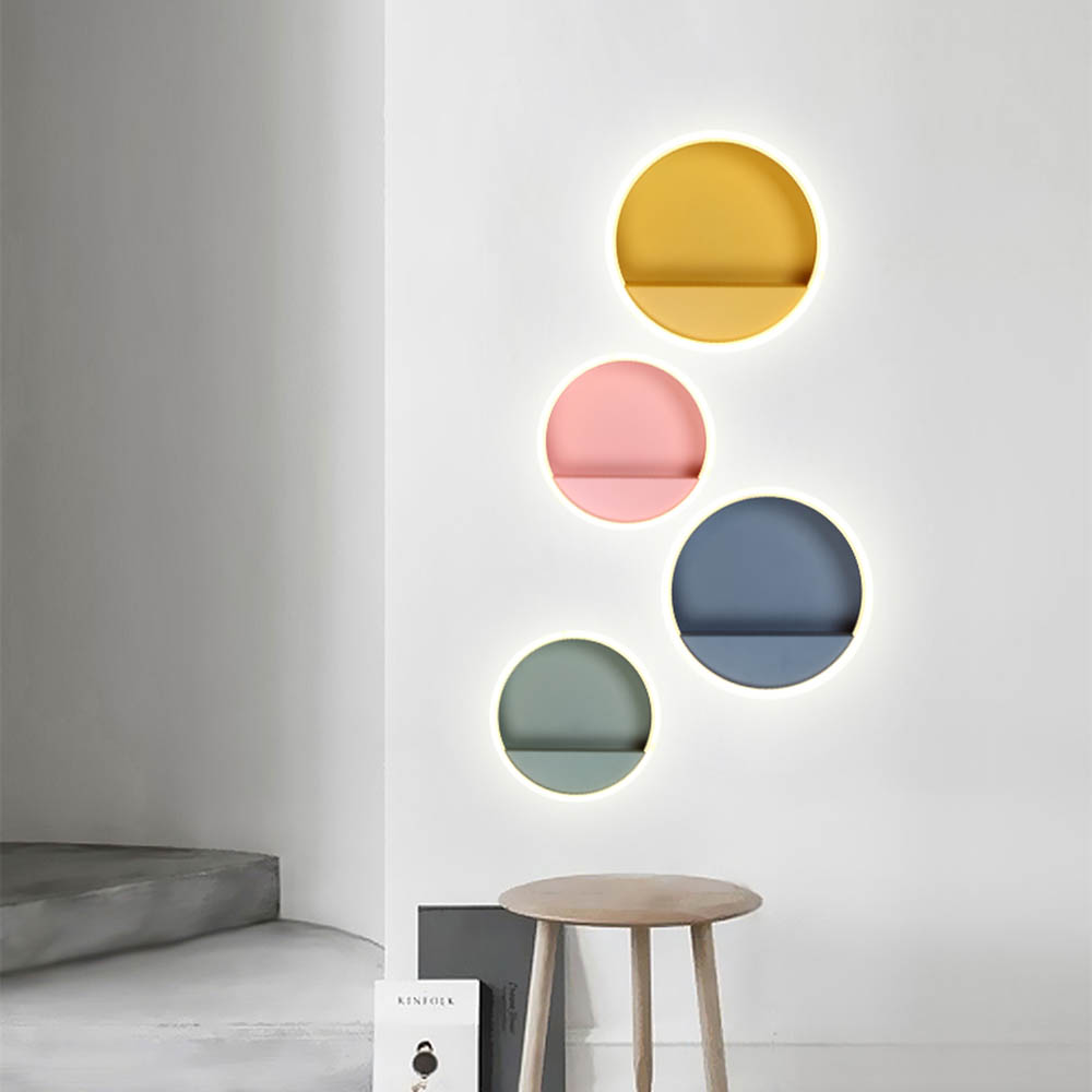 Modern Nordic Colorful Macaron Round LED Wall Lamp Bedside Light Home Porch Bedroom Wall Sconce Lighting Fixture Wall Decor Art modern nordic led wall sconce light home corridor porch bedroom bedside lamp hanging wall lamp light fixtures wall decor art