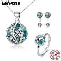 WOSTU Hot Sale Authentic 925 Sterling Silver Green Radiant Leaves Jewelry Sets Bracelet Earrings Necklace For