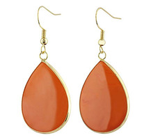 FYJS Unique Jewelry Light Yellow Gold Color Water Drop Orange Turquoises Stone Hanging Hook Earrings